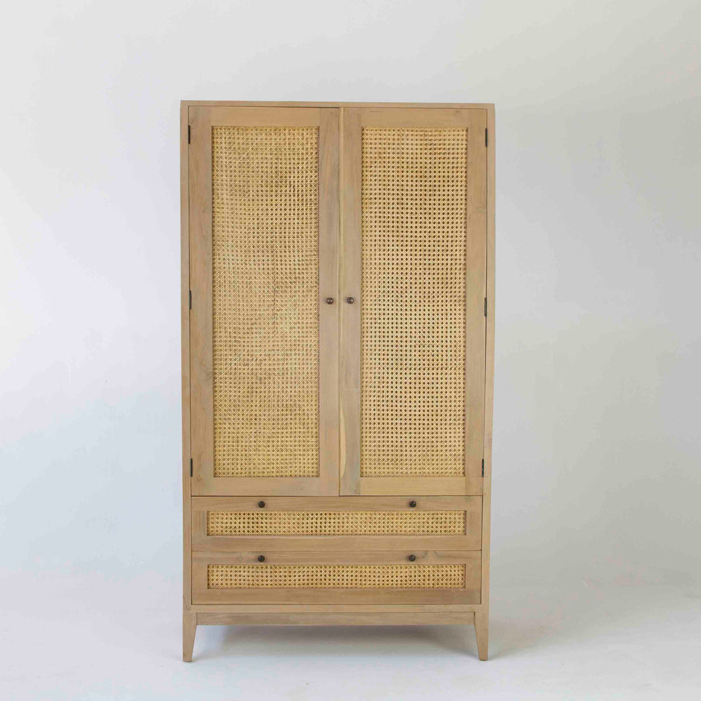 Tropic wardrobe with rattan 2 drawers and 2 doors