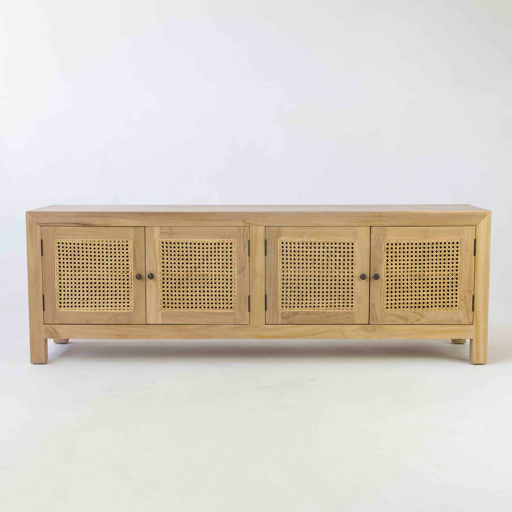 Tropic 4 door low buffet with rattan door