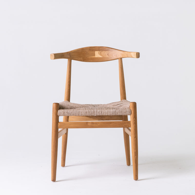 Elbow chair with woven seat