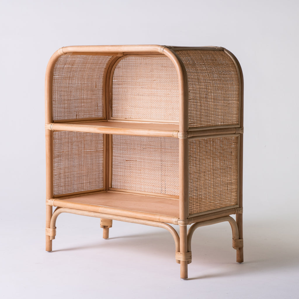 Rattan bookcase with webbing 90cm