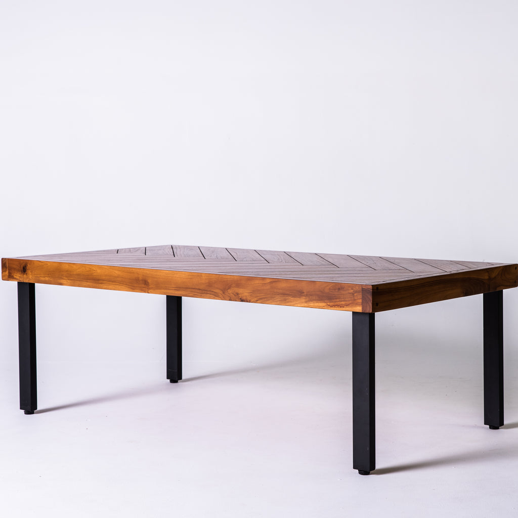 Teak parquetry coffee table