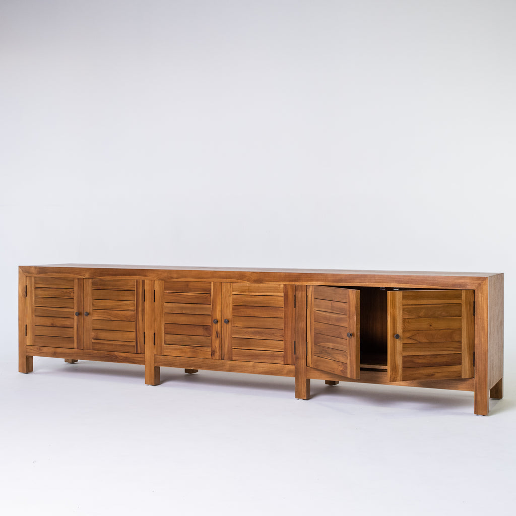 Tropic 6 door low buffet with slat door in Teak