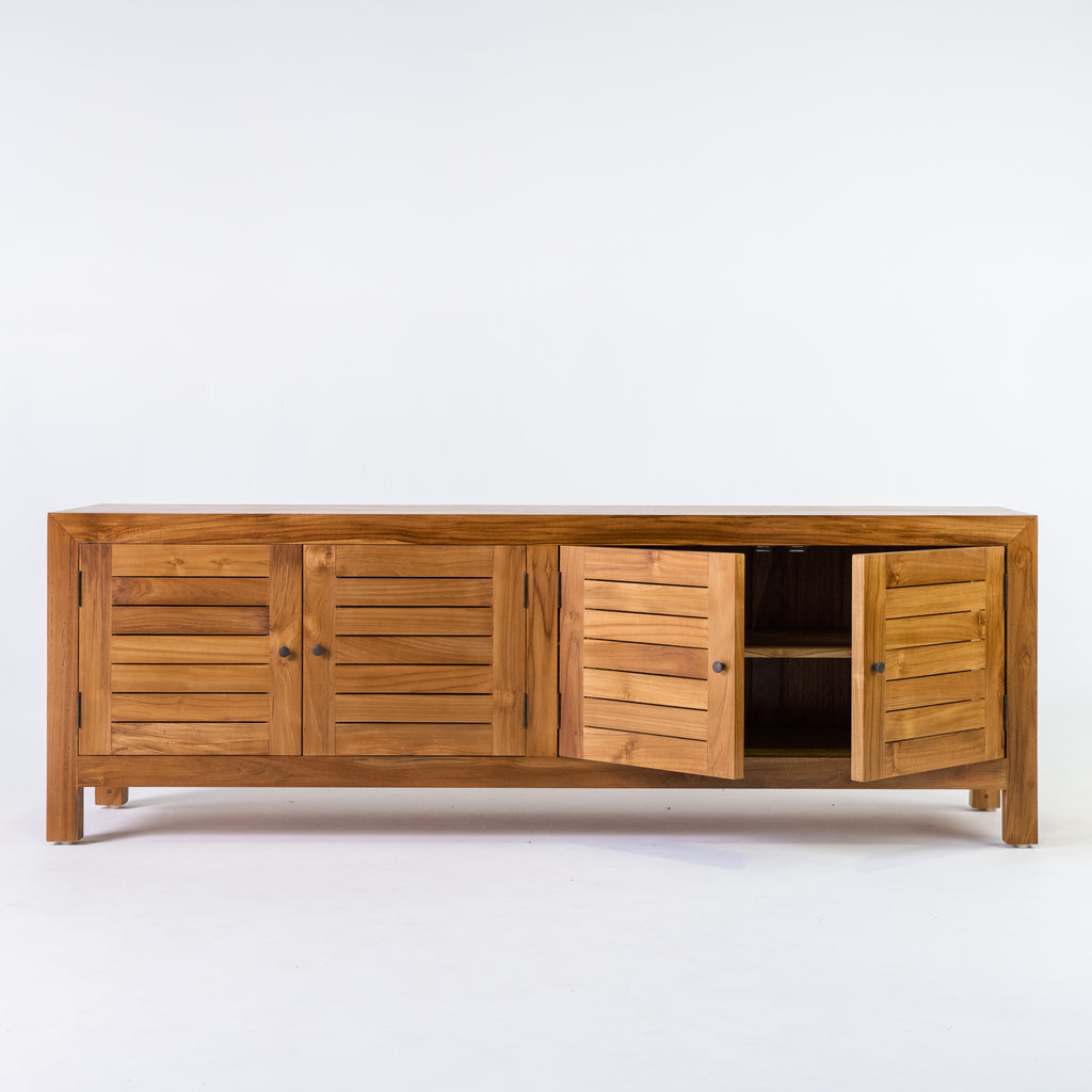 Tropic 4 door low buffet with slat door in Teak