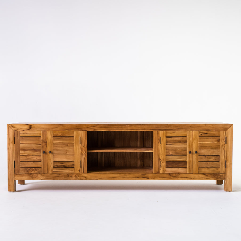 Tropic TV buffet with slat door in Teak