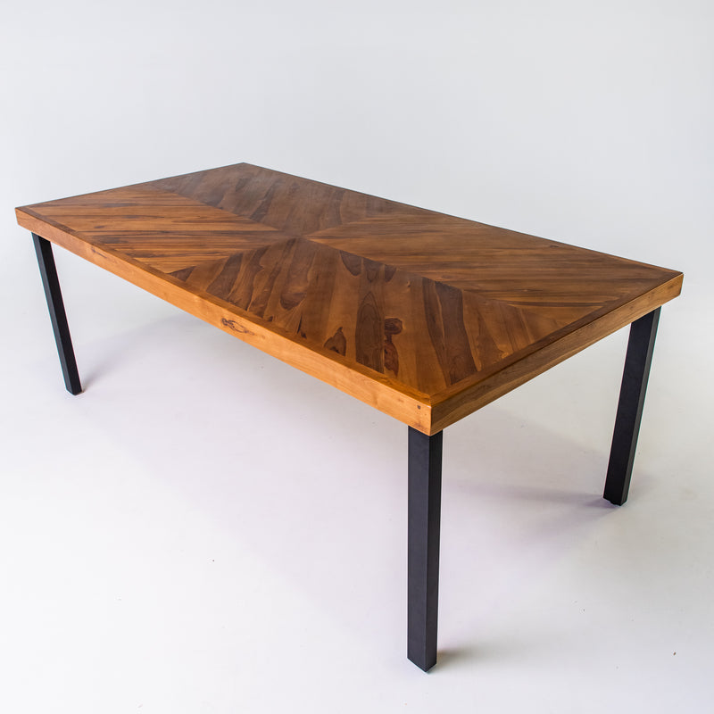 Teak parquetry dining table