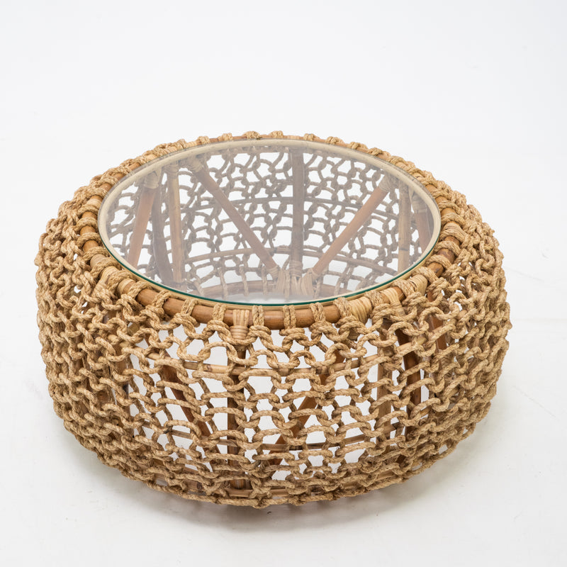 Rope side table with glass