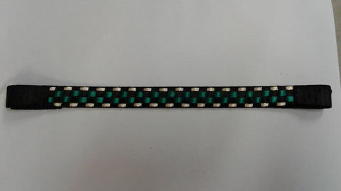 "14.5"" Blk Green & White with Gold Trim Browband"