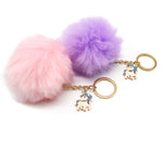 Unicorn Pom Pom Key Ring