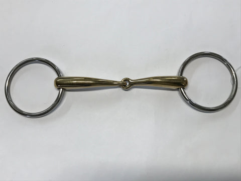 Zilco Curved Gold Jointed Snaffle Bit