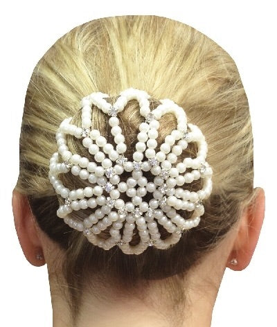 Equetech Diamanté Beaded Bun Cover - Pearl
