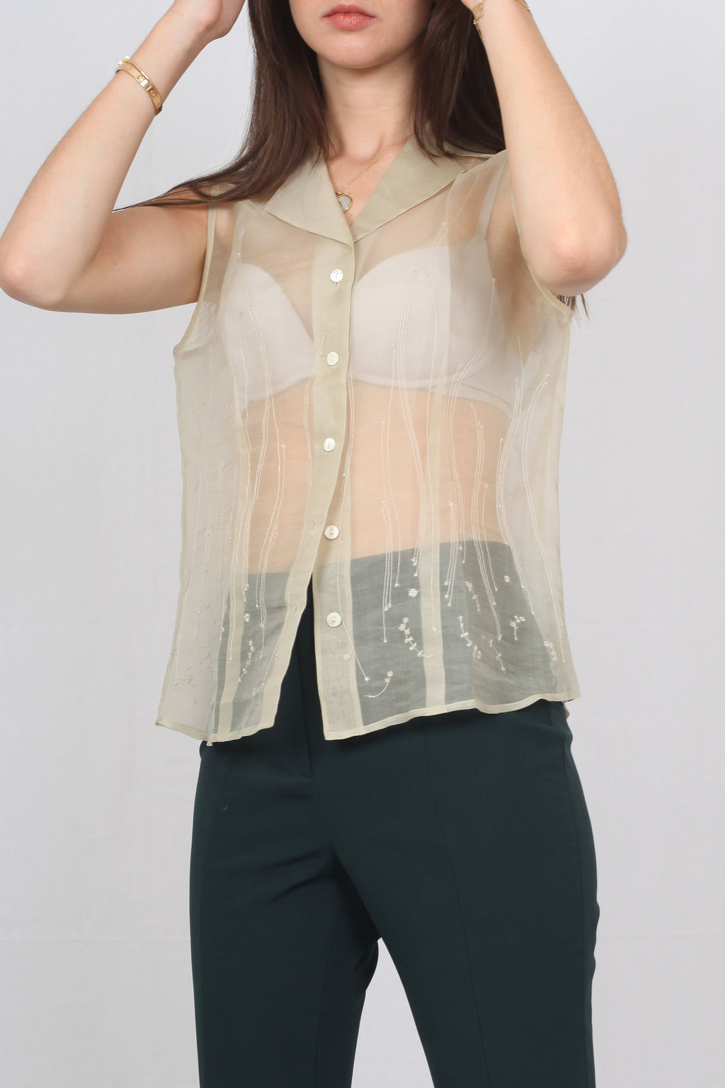 Fine Silk Embroided Top - L