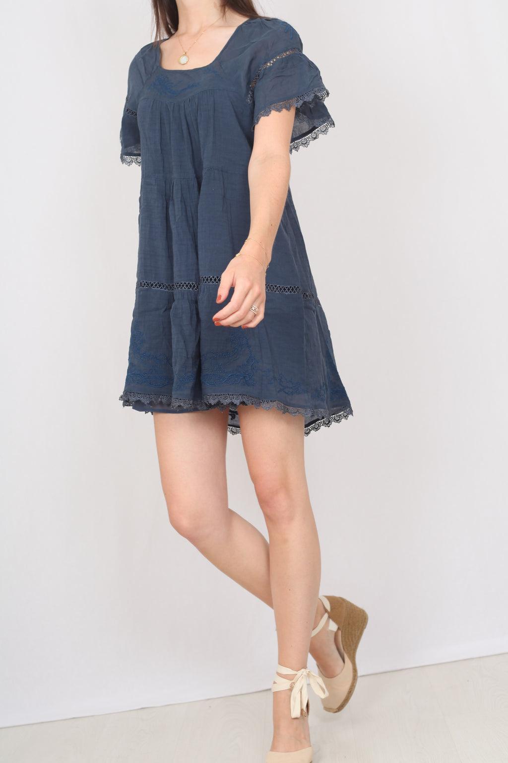 Cotton and Lace Dress - S