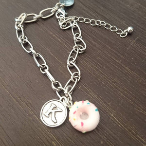 Baking Bracelet - Donut Charm + Your Initial