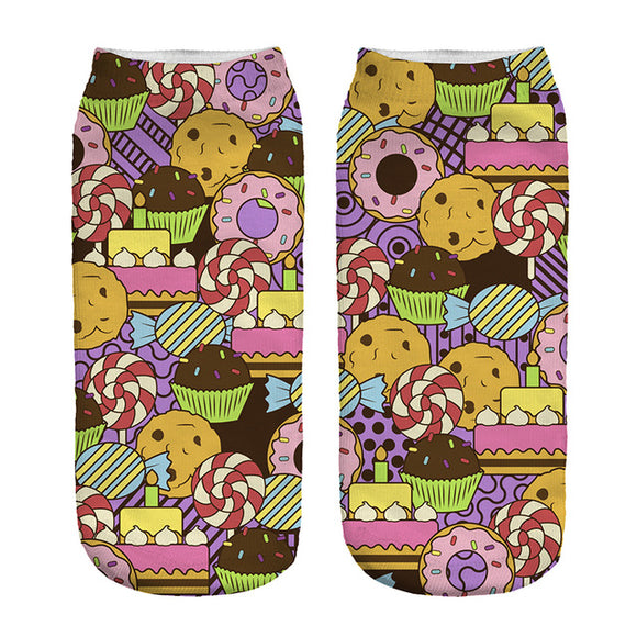 Cartoon Sweet Treats Novelty Ankle Socks