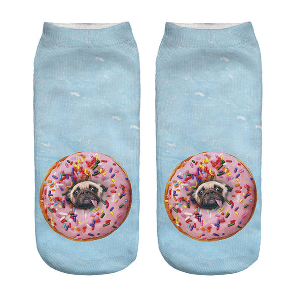 Donut Pugs Novelty Ankle Socks