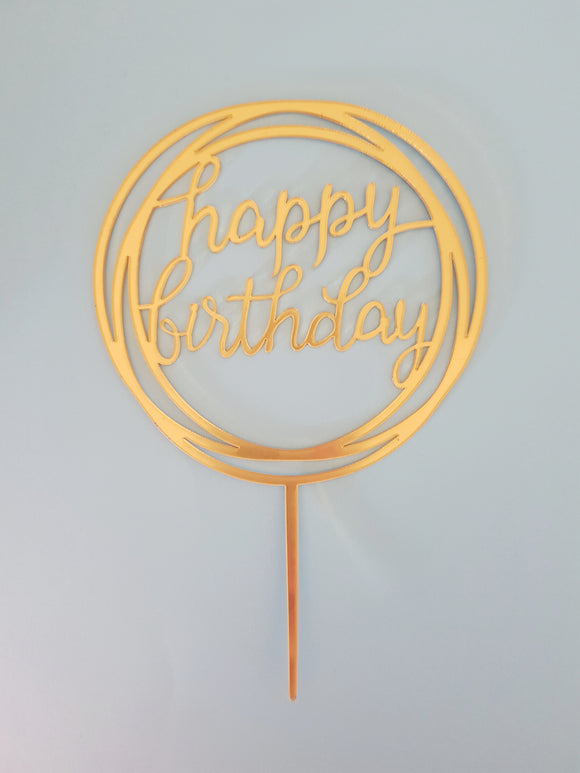 Round Happy Birthday Acrylic Cake Topper
