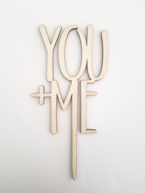 'You + Me' Wooden Cake Topper