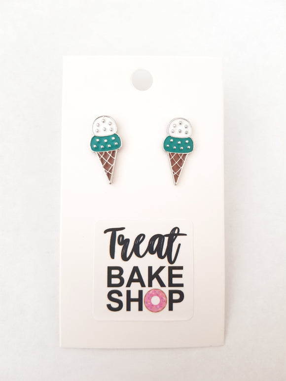 Mint Choc Chip Ice Cream Earrings
