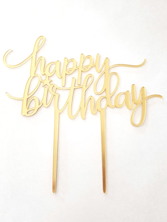 Happy Birthday Script Acrylic Cake Topper