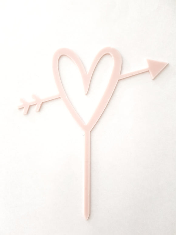 Cupid's Heart Acrylic Cake Topper