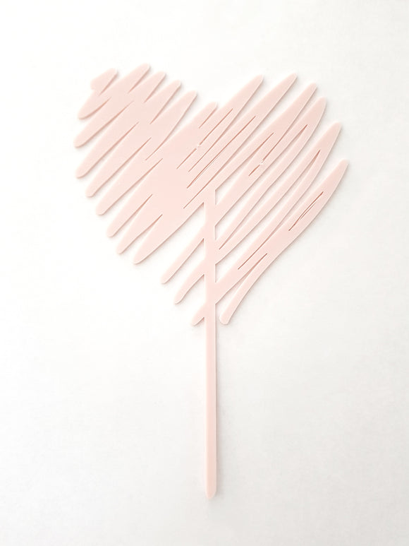 Scribble Heart Acrylic Cake Topper | Valentine's Day