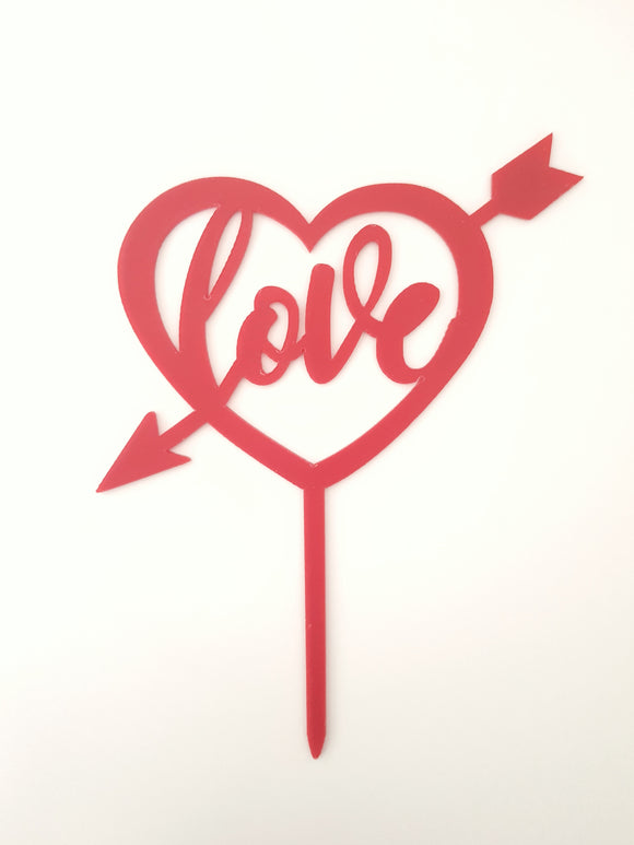 Cupid's Heart Valentines Cake Topper