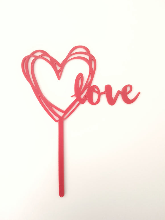 Scribble Heart/Love Valentines Cake Topper