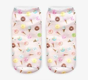 Pastel Donuts + Ice Creams Novelty Ankle Socks