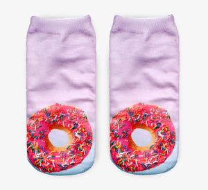 Pink Donuts Novelty Ankle Socks