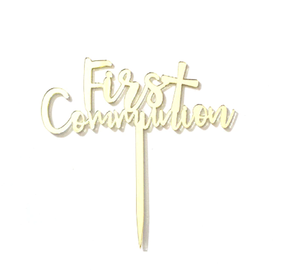First Communion Mirror Acrylic Cake Topper