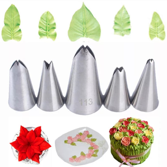 Stainless Steel Leaf Piping Tips - Set of 5