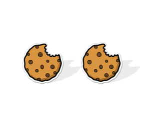 Bitten Choc Chip Cookie Earrings Studs