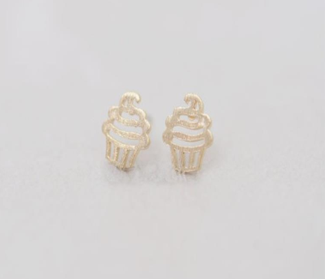 Gold Cupcake Earrings