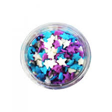 Blue, Purple & White Stars Quins Sprinkles