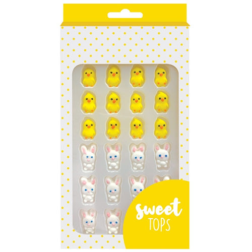 Sweet Tops | Easter Bunny + Chick Icing Decorations | 24 pack