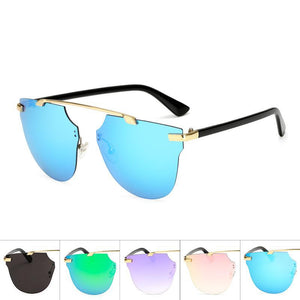 Womens Wholesale Hipster Tear Drop Cat Eye Lens Metal Sunglasses - Mix Colors