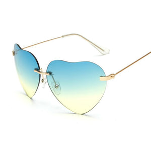 Small Thin Metal Heart Shaped Frame Cupid Sunglasses - Mix Colors