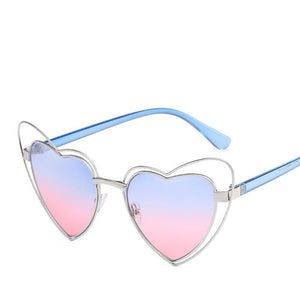 Sweet Metal Accent Bold Heart Shaped Sunglasses - Mix Colors