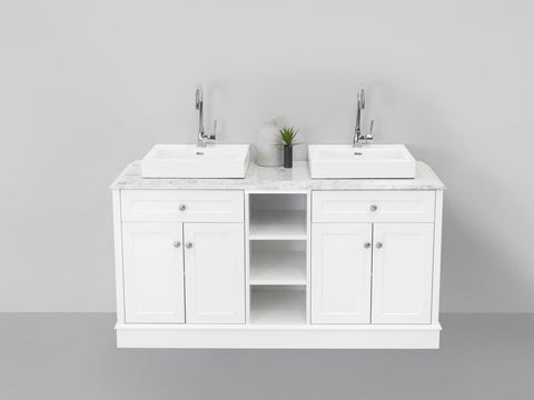 Classic Marble Top Double Bowl Freestanding Vanity