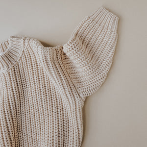 Chunky Cotton Sweater in Almond