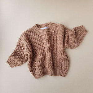 Chunky Cotton Sweater in Toffee