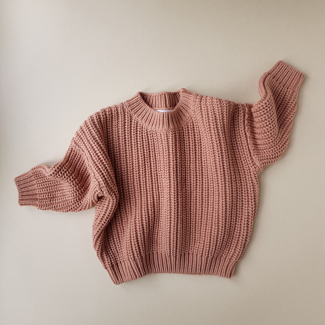 Chunky Cotton Sweater in Terracotta