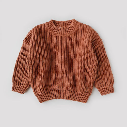Chunky Cotton Sweater in Rust