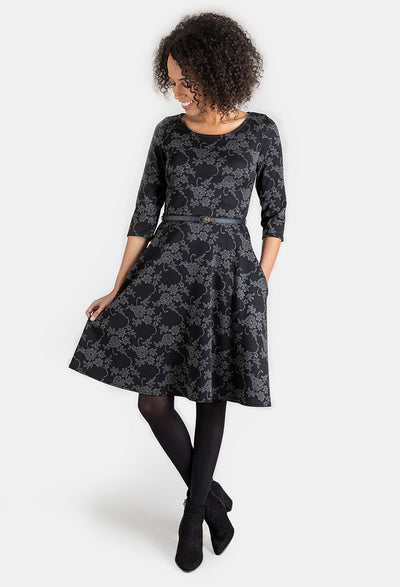 Jasmine Grey Floral Jacquard Dress