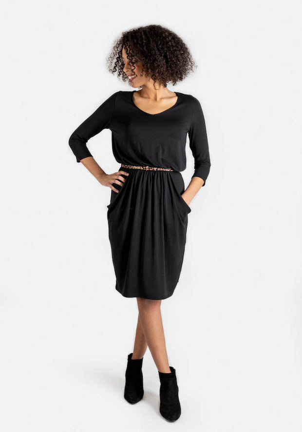 Olive Black Blouson Waist Dress
