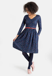 Dena Ruched Spot Dress