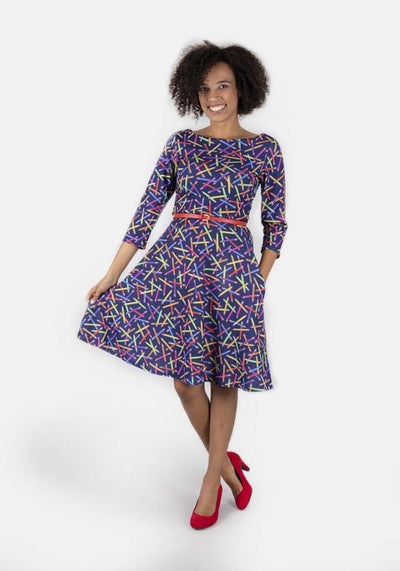 Lora Crayon Print Dress