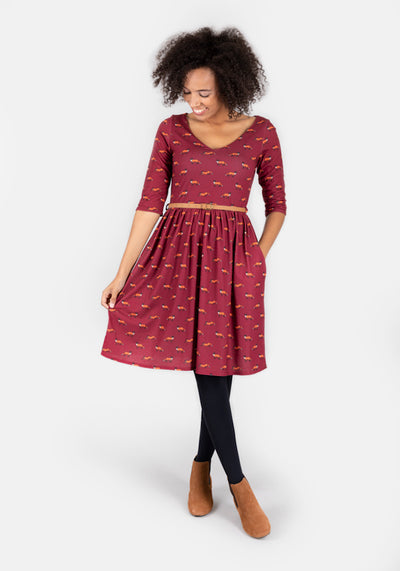 Freya Wine Fox Print Dress