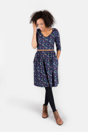 Rebecca Woodland Navy Rabbit Print Dress