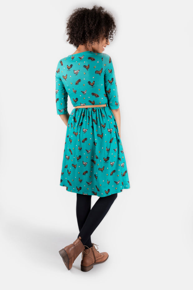 Dixie Egg & Chicken Print Dress